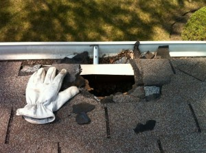 repairing a hole near the edge of a roof